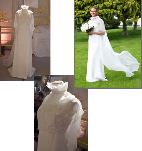 robe de mariée Gilles Zimmer, bustier rebrodé et cape en mousseline